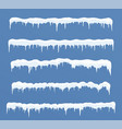 set of long ice caps snowdrifts icicles elements vector image
