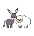 sheep and donkey animals cartoon vector image