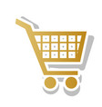 shopping cart sign golden gradient icon vector image vector image