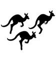 silhouette of cartoon kangaroo vector image