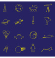 simple space yellow outline icons set eps10 vector image