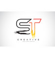 st creative modern logo design with orange and vector image vector image
