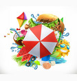 summer holiday set 3d icon vector image