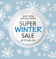 super winter sale banner in paper cut style vector image vector image