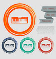 synthesizer icon on red blue green orange vector image vector image