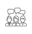 three speaking people with chat bubbles under head vector image vector image