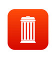 trash can icon digital red vector image vector image
