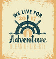 travel banner with ships helm and lighthouse vector image vector image