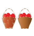 two baskets with red easter eggs vector image