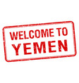 welcome to yemen red grunge square stamp vector image vector image