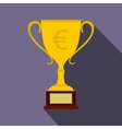 Winner cup with euro sign icon flat style vector image