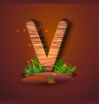wooden letter v decorated with grass vector image vector image