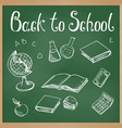 Green blackboard with chalk-drawn school objects vector image