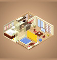 japanese style apartment interior isometric vector image