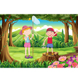 A boy and a girl playing at the forest vector image vector image