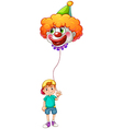 A boy holding a clown balloon vector image