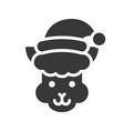 alpaca wearing santa hat silhouette icon design vector image vector image