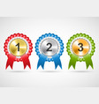 awards rosettes with ribbons modern isolated vector image