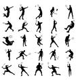 Badminton silhouette set vector image vector image