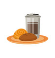 bakery goods an coffee vector image vector image