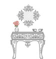 baroque dressing table furniture rich collection vector image vector image