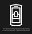 black smartphone with download icon isolated on vector image vector image