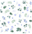 blue flowers on white bg floral pattern vector image