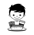 boy with hot dog soda and french fries vector image vector image