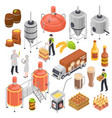 brewery isometric set vector image vector image