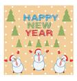 card three funny snowmen happy vector image vector image