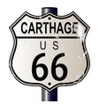 carthage route 66 highway sign vector image vector image