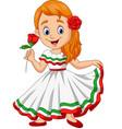 cartoon girl dancing cinco de mayo celebration vector image vector image
