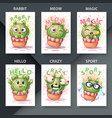 cartoon - set cactus characters vector image