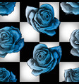 cold blue vintage roses on chessboard background vector image vector image