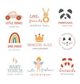 collection bohemian kids logo vector image vector image