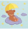 Cute bear sits on moon under an umbrella