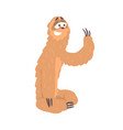 cute cartoon sloth character sitting on the floor vector image vector image