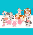 cute comic farm animal characters group vector image vector image