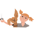 Dog groomer girl vector image vector image