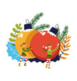 elf helpers of santa claus pushing decorative ball vector image