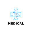 Flat line medicine icon blue emblem logo