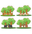 four forest scenes with many animals vector image vector image