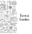 gardening doodle icons background vector image