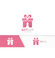 gift and arrow up logo combination present vector image vector image