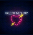 glowing neon valentines day sign with heart shape vector image vector image
