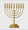 gold colored hanukkah menorah nine-branched vector image vector image