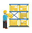 goods receiving and stocking concept in flat style vector image