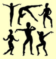 gymnastic girl silhouette vector image vector image