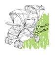 hand drawn stroller for twins Double stroller vector image vector image