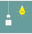 Hanging yellow light bulb socket cord plug Idea vector image vector image